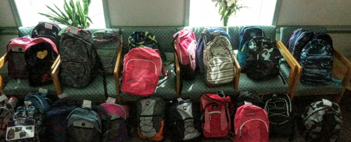 Fully stocked back packs for all ages!